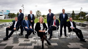 (From L-R) Ian Robson CEO Melbourne Victory, Gary Pert CEO Collingwood Football Club, Brendon Gale CEO Richmond Football Club, Craig Tiley CEO Tennis Australia, Elizabeth Broderick Sex Discrimination Commissioner, Simon Hollingsworth CEO ASC, Anthony Moore CEO Basketball Australia, Mark Anderson CEO Swimming Australia, Paul White CEO Brisbane Broncos.